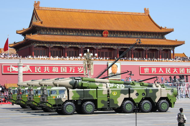 China shows off seven ballistic missiles